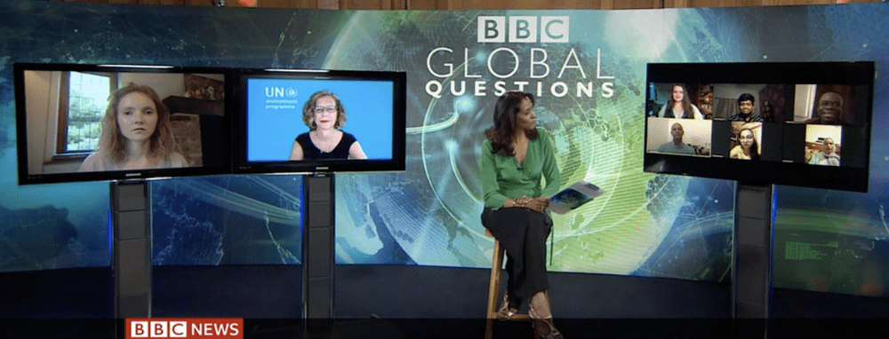 Global questions presenter Zeinab Badawi, takes questions from viewers around the world via video link