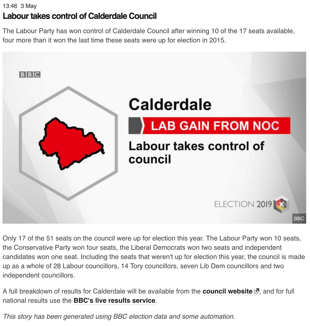 Salco election result for Calderdale constituency