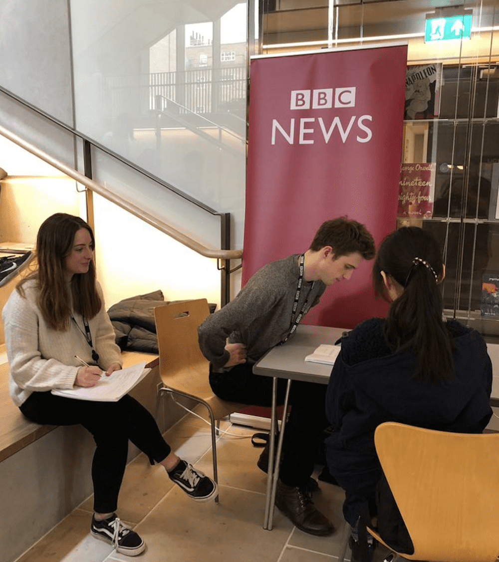 Students test an early prototype of interactive news