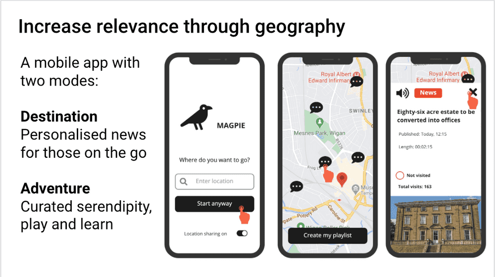 Examples of the designs for the Magpie mobile app.