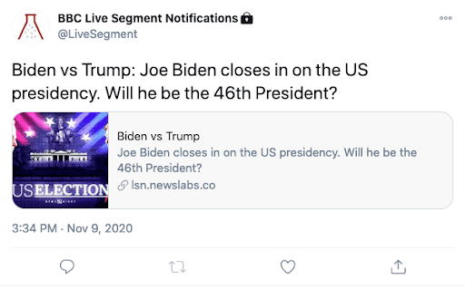 Screenshot of a tweet from the live segment notification Twitter acccount. Shows a programme description and a Twitter card that links to the programme segment.