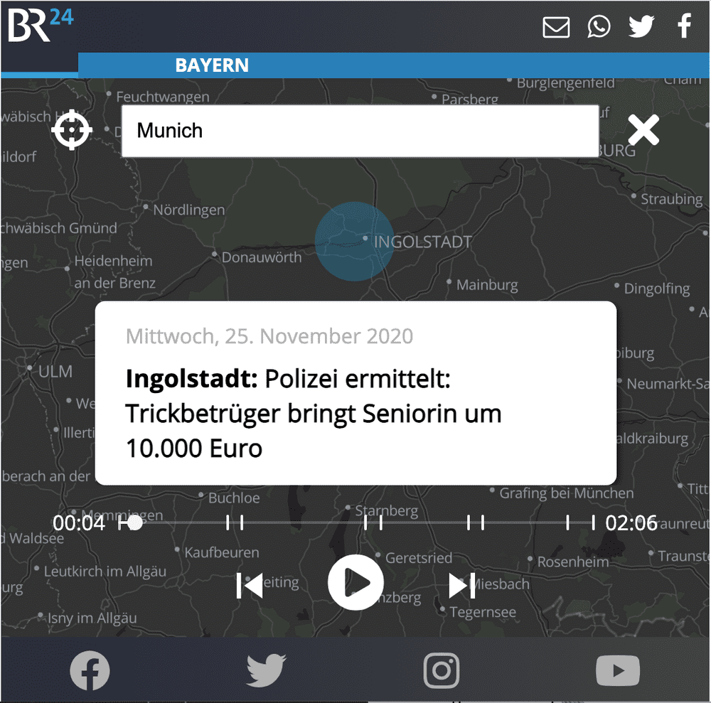 "A screenshot of the interface of the ""Remix Regional"" mobile app centred on a map of Munich, Germany."