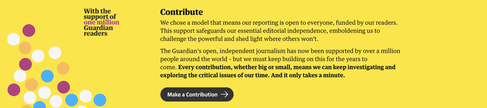 Screenshot of Guardian contribute banner