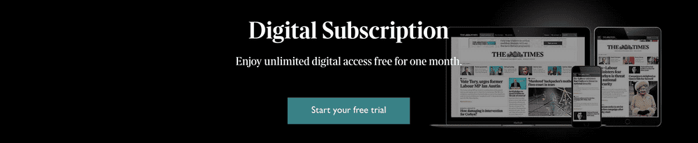 Screenshot of Digital subscription offer from the Times